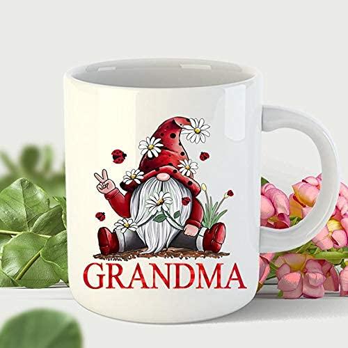 Grandma Gnome Daisy Valentine Mug Regalos para ella, día de la madre, cumpleaños, aniversario Taza de café de cerámica de 11 onzas