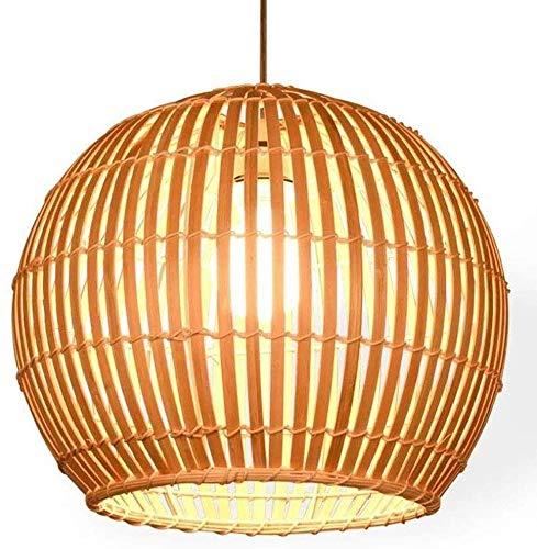 Popertr Lámpara tejida de madera Rattan Mimbre estilo japonés Bambú Pantalla Lámpara E27 Lámpara Lámpara Ajustable Lámpara Comedor Habitación Cocina Cocina Techo Lámpara Decorativa Colgante Café Ilumi