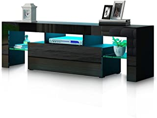 TV Cabinet Stand LED Entertainment Unit High Gloss Front Wood Storage Drawer Black 130cm