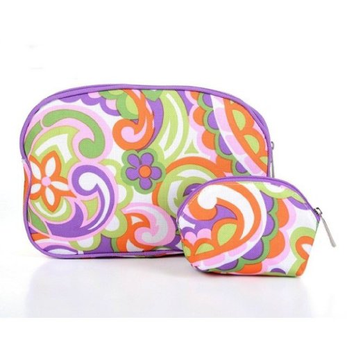 Clinique Fall 2013 Flower Cosmetic Bag Duo 2pc Set (1 Large  1 Small)