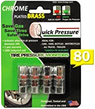 Quick Pressure QP-000080 Chrome Plated Brass 80 psi Tire Pressure Monitoring Valve Cap, (Pack of 4)