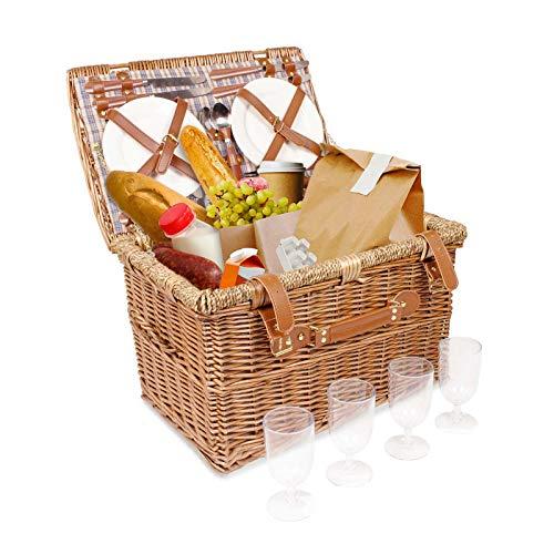 Arkmiido Handgefertigtes 4 Personen Weidenkorb Picknickkorb Besteck-Inklusive Edelstahlbesteck,Wein Gläser, Teller für Picknicks,mit Seitenriemen Griff zum einfachen Tragen