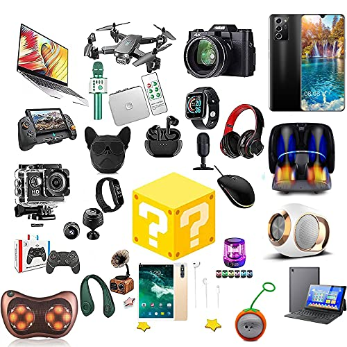 RTEY Caja de Misterio electrónica, Interesante y emocionante Caja de Suerte: Drones, Auriculares, Cuaderno, teléfono móvil, Reloj Inteligente y más, para Adultos Sorpresa