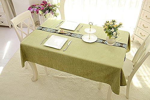 Jhxena Salon De Style Nordique Table Plateau voitureré épais Tissu Dentelle Broderie Couverture Table Cloth, Vert 140  220Cm