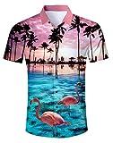 AIDEAONE Herren Aloha Hawaiian Hemd Kurzarm Urlaub Hemden Rosa Flamingo