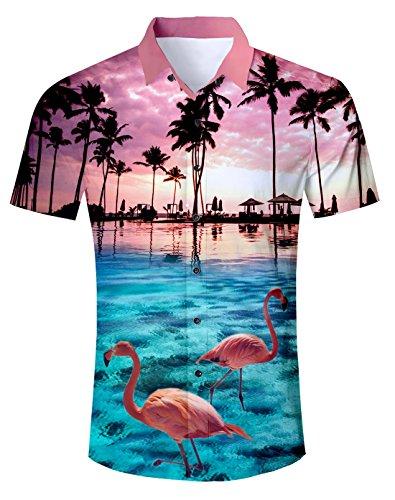 NEWISTAR Camicia Hawaiana Uomo 3D Stampata Manica Corte Bottone Floreale Hawaiano Shirts