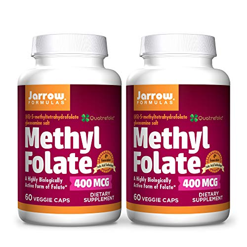 Jarrow Formulas Methyl Folate 400 mcg - 60 Veggie Caps, Pack of 2 - Highly Biologically Active Form of Folate - 4th Generation Folic Acid Technology - 120 Total Servings