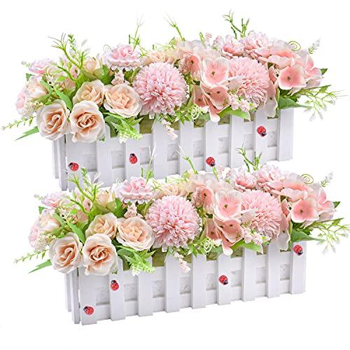 Fiori di rosa artificiali Piante di fiori di ortensie finte in vaso per staccionata per home office Decorazione per davanzale da cucina per feste di matrimonio, set di 2 (Rosa)