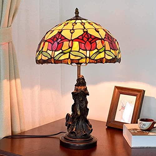 Tiffany Style Lámpara de Mesa Lámpara de Escritorio Tulip Tulip Resina Decoración Lámpara de Cama/Lámpara de Noche para Sala de Estar Improve