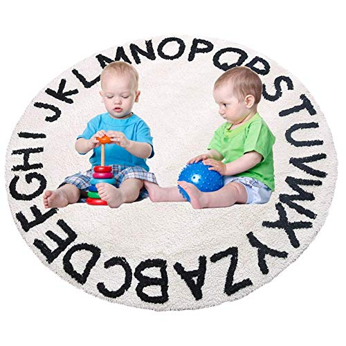 "ABC Kids Rug Alphabet Educational Area Rugs for Infant Toddlers - Soft Playtime Collection, Home Decor Teepee Tent Round Play Mat, Best Shower Gift (59"", White Black)"