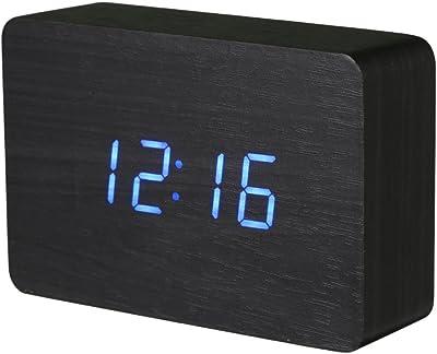 Shuangklei Mesa De Escritorio De Madera Reloj Despertador Led Digital Sound Control De Temperatura Tiempo De
