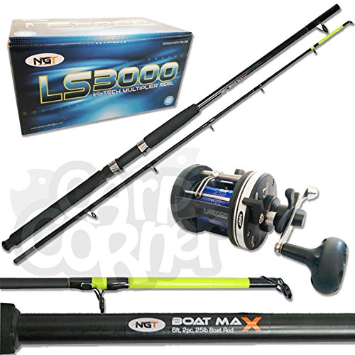 New Sea Fishing Boat l Rod & Reel Deal Multiplier Pre Loaded With Line NGT