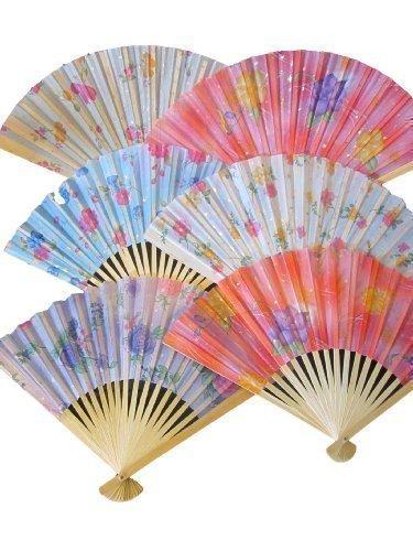 Fat-catz-copy-catz - Set 10 ventagli giapponesi, in cotone e legno di qualità, motivo floreale, 26 cm