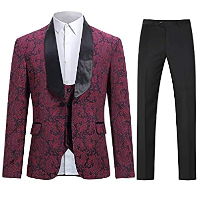 Boyland Mens 3 Piece Tuxedos Vintage Groomsmen Wedding Suit Complete Outfits(Jackets+Vest+Trousers)
