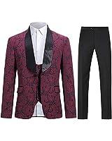 Boyland Mens 3 Piece Tuxedos Vintage Groomsmen Wedding Suit Complete Outfits(Jackets+Vest+Trousers) Burgundy