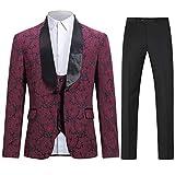 Boyland Mens 3 Piece Tuxedos Vintage Groomsmen Wedding Suit Complete Outfits(Jackets+Vest+Trousers)...