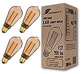 4x greenandco® lampadina a LED di design vintage in stile retrò per l'illuminazione d'atmosfera E27 ST64 4W 200lm 1800K (bianco extra caldo) 320° 230V AC vetro, nessun sfarfallio, non dimmerabile