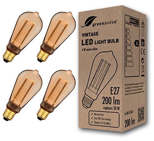 4x greenandco® Vintage Design LED Lampe im Retro Stil zur Stimmungsbeleuchtung E27 ST64 Edison Glühbirne, 4W 200lm 1800K extra warmweiß 320° 230V flimmerfrei, nicht dimmbar 2 Jahre Garantie