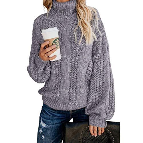 WLKDMJ Damenkleidung Pullover Pullover, Rollkragenpullover Strickpullover, lockerer, langärmliger, elastischer, dicker Rollkragenpullover-grey-XL