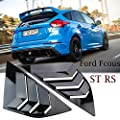 Heart Horse Rear Quarter Panel Fit for Ford Focus ST RS MK3 Side Window Louvers Racing Styling Car Blinds Scoop Tuyere Vent Panel Trim Shutters Glossy Black, 2 Pack