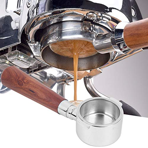 Bodenloser Filterhalter, Edelstahl Kaffee Bodenloser Siebfilter Filterhalter 51mm für Kaffeemaschine