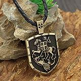 Xpccj Collar con colgante para hombre, de ST.George on Horse Kills Dragon Cross Medal Amuleto Collar Religioso Collar de Cadena Talismán Vintage Collares con Colgante para Hombre (Color de metal: Oro)