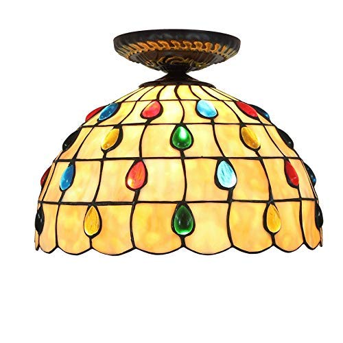 DXX-HR 12 pulgadas semi empotrado montaje luces de techo estilo Tiffany colorido pantalla de cristal, para sala de estar lámpara de techo iluminación Tiffany lámparas luces de techo