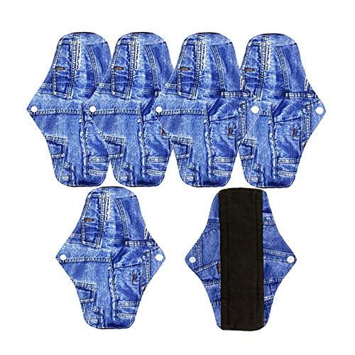 Lavable 5 piezas de almohadillas menstruales de servilletas lavables, servilletas de bambú reutilizables, servilletas de mujer, productos de higiene femenina, almohadillas de tela Almohadillas de toal