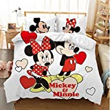 Mickey Minnie Mouse Duvet Cover Sets for Boys Girls Bed Set Super Soft Microfiber White Background Kids Toddler Bedding Sets 3Piece (1Duvet Cover,2Pillowcases) Pattern2 Full