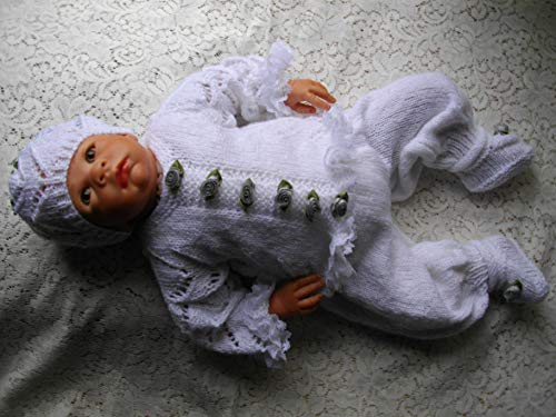 DollieBabies Knitting Pattern 9 - Unisex cardigan set with knitted in lace for 0-3 month baby or 20-22