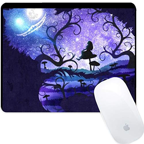 DISNEY COLLECTION Square Computer Game Mouse Pad Alice in Wonderland Purple and Cheshire Smooth Surface Non-Slip Lightweight Skid Proof Rubber High Mouse Tracking. Cute