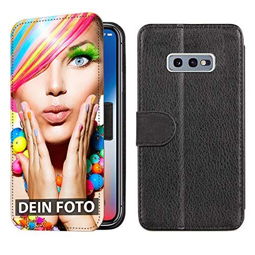 dP deinPhone Samsung Galaxy S10E - Handyhülle - Selbst gestalten/Individuell bedruckbar/eigenem Foto oder Text/Flipcase Lederoptik mit Kreditkartenfach