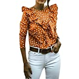 Bluse Damen Kolylong® Frauen Elegant Polka Punkt Lange Ärmel Blusen Reizvoller Rückenfrei Langramshirt Festlich Oberteil Mode Hemden Retro Tunika Party Tops T-Shirt Pulli Sweatshirt (M, Khaki)