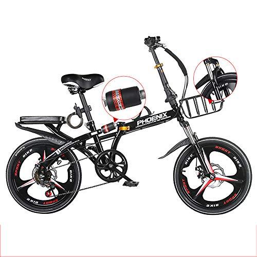 ZYD Bicicleta Plegable, Bicicletas portátiles de 20 Pulgadas y 6 velocidades, Freno...