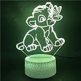 YOUPING Lámpara de ilusión 3D LED luz nocturna con base de reloj despertador, el rey león juega con mariposas, animales, base muy brillante directa, ambiente de escritorio