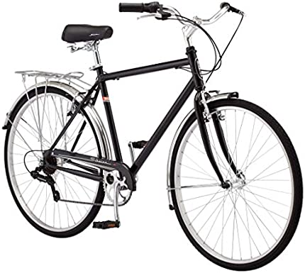 Schwinn Wayfarer - Bicicleta híbrida para adultos, estilo retro, marco de acero de 18.0in, 7 velocidades de transmisión, soporte trasero, ruedas 700C, color azul