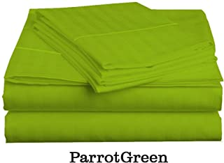 Jagdambe Linens 600 Thread Count 4-Piece Sheet Set 100% Egyptian Cotton Queen (60 X 80) Parrot Green Stripe Fits Mattress Upto 13-15 Inches Deep Pocket
