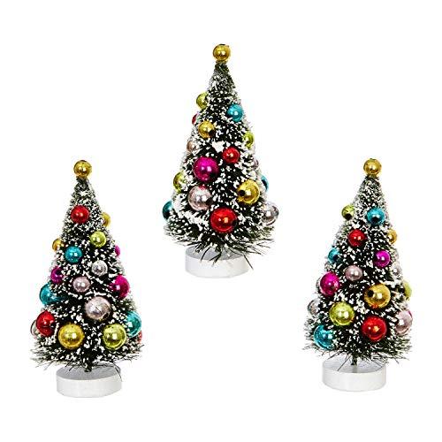RAZ Imports Mini Decorated Christmas Tree Figurines - Set of 3