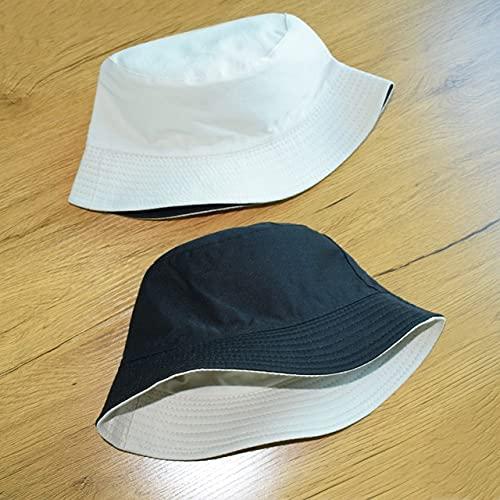 Sombrero de Verano, Sombrero deCubo de Pato Reversible para Hombres, Mujeres, Moda de algodón, niños tristes, Sombrero de Sol Plegable para niñas, Sombrero de Pescador de Playa-Beige Black