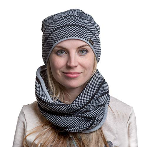 fil'loo KPL-17-10-1 Strickmütze Dame Kopfbedeckung Herbst Kariert Loop Schal Set Dünn EU, Dunkelgrau,Einheitsgröße