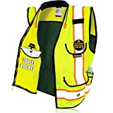 KwikSafety (Charlotte, NC) GODFATHER (Cushioned Collar) Class 2 ANSI OSHA High Visibility Safety Vest 9 Pockets Reflective Tape Heavy Duty Zipper Mesh Hi Vis Construction Men Women Yellow X-Large