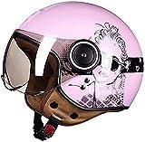 YLFC Verano Casco Abierto Certificación ECE Protección para Motocicleta Vintage Casco Moto Jet con Visera Mujer Y...