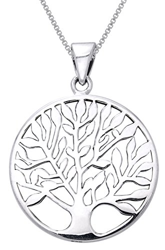 Jewelry Trends Large Celtic Tree of Life Sterling Silver Pendant Necklace 20'