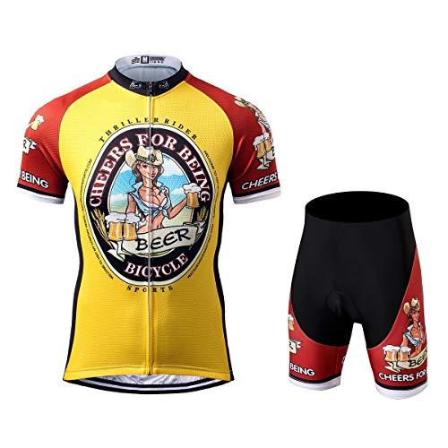 Thriller Rider Sports® Herren Cheers for Being Sport & Freizeit MTB Fahrradbekleidung Radtrikot und Kurze Hose Anzüge X-Large