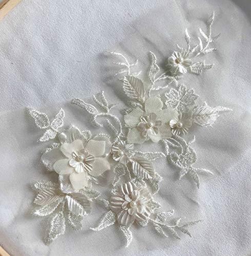 HUIJUNWENTI 1PCS Farben der Blumen-3D SpitzeApplique Perlen Bestickt-Material Trim for DIY Brautkleid Schleier Zubehör (Color : Champagne)