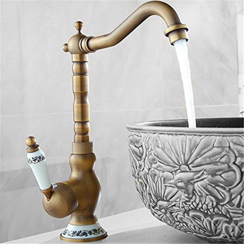 Bijjaladeva Miscelatore per Lavabo Rubinetto Bagno a Cascata Finitura Tutti rame acquaio della cucina rubinetto lavabo rubinetto piatti caldi e freddi