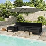 WooDlan Conjunto Muebles de Jardín Ratán | Muebles para terraza/Exterior | Set de Ratán Sintético | Color Negro | Sofá
