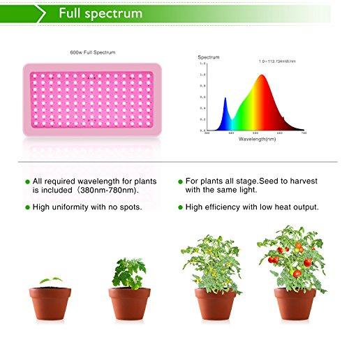 Lampe Horticole,Roleadro 600W LED Grow Lights Led Horticole Croissance Floraison pour Fruit Légume Fleur Plante de Pot Eclairage de Greenhouse Serre Laboratoire Jardin Intérieur