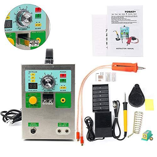 D&F 709AD Soudeuse de Points de Batterie,220V 3.2kw LED Soudeuse de Batterie à Impulsion avec Stylo de soudage,4 en 1
