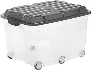 Rotho Roller 6 Boîte de rangement 57l avec couvercle et roulettes, Plastique (PP) sans BPA, transparent/anthracite, 57l (5...